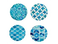 Living & Giving Annabel Trends Coaster Set Geo Aqua 10cm