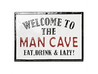 Living & Giving Oslo Enamel Wall Plaque Welcome Man Cave 46x33cm