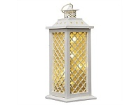 Living & Giving Wooden Lattice Cross Lantern White Tall