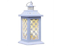 Living & Giving Wooden Lattice Circle Lantern White Small