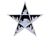 Living & Giving Wooden Village Star Christmas Decor White