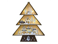 Living & Giving Wooden Village Tree Christmas Decor Natural