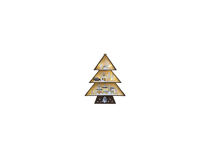 Wooden Village Tree Christmas Decor Natural
