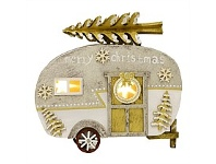 Living & Giving Wooden Caravan with Lights Christmas Decor Grey&Silver Small