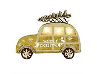 Living & Giving Wooden Car with Lights Christmas Decor Gold Small