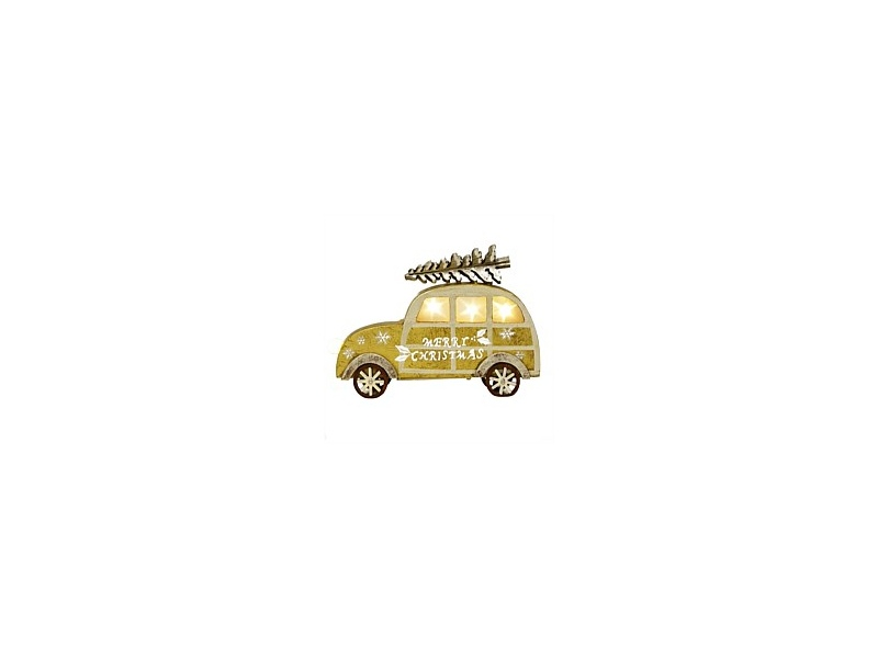 Wooden Car with Lights Christmas Decor Gold Small