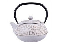 Living & Giving Cast Iron Teapot Gold Leaf & White 900ml