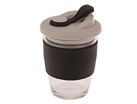 Living & Giving Oasis Glass Coffee Cup Black 340ml