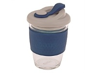 Living & Giving Oasis Glass Coffee Cup Navy 340ml
