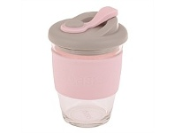 Living & Giving Oasis Glass Coffee Cup Pink 340ml