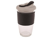 Living & Giving Oasis Glass Coffee Cup Black 454ml