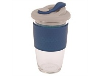 Living & Giving Oasis Glass Coffee Cup Navy 454ml