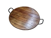Living & Giving Round Tray with Metal Handles Natural