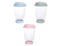 Living & Giving Double Walled Glass E-Cup Assorted 350ml