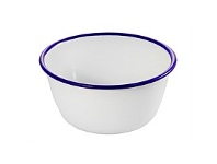 Living & Giving Dishy Enamelware Pudding Basin White Blue