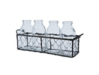 Living & Giving Cream Bottle Vase in Wire Crate 4 Piece
