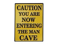 Living & Giving Caution Man Cave Wall Plaque 40x30cm