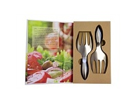 Living & Giving Stainless Steel Salad Servers Set 2 In Gift Book