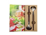 Living & Giving Walnut Salad Servers Set 2 In Gift Book