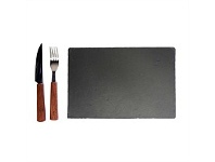 Living & Giving Steak Server Set With Slate Board Set 3 In Gift Book