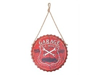 Living & Giving Bottle Cap Wall Plaque Red Garage 20cm