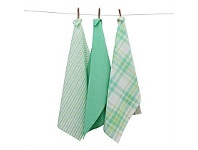 Living & Giving Casual Cotton Tea Towels Blue Green Set 3