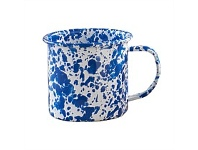 Living & Giving Dishy Marbled Enamel Mug Blue and White 350ml
