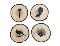 Living & Giving Tree Slice Kiwiana Coaster Set of 4