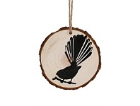 Living & Giving Hanging Wooden Slice Christmas Decoration Fantail 6cm