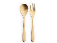 Living & Giving Salad Servers 18/10 Stainless Steel Gold