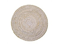 Living & Giving Seagrass & Cotton Round Placemat White 38cm