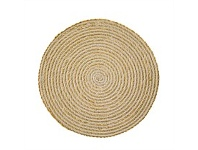 Living & Giving Seagrass & Cotton Round Placemat Antique White 38cm