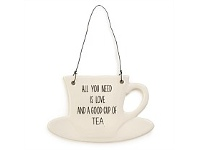 Living & Giving All You Need Teacup Ceramic Plaque Wall Art 15x9cm