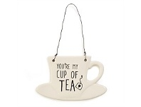 Living & Giving My Cup of Tea Teacup Ceramic Plaque Wall Art 15x9cm