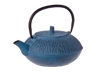Living & Giving Cast Iron Straw Teapot Blue 800ml
