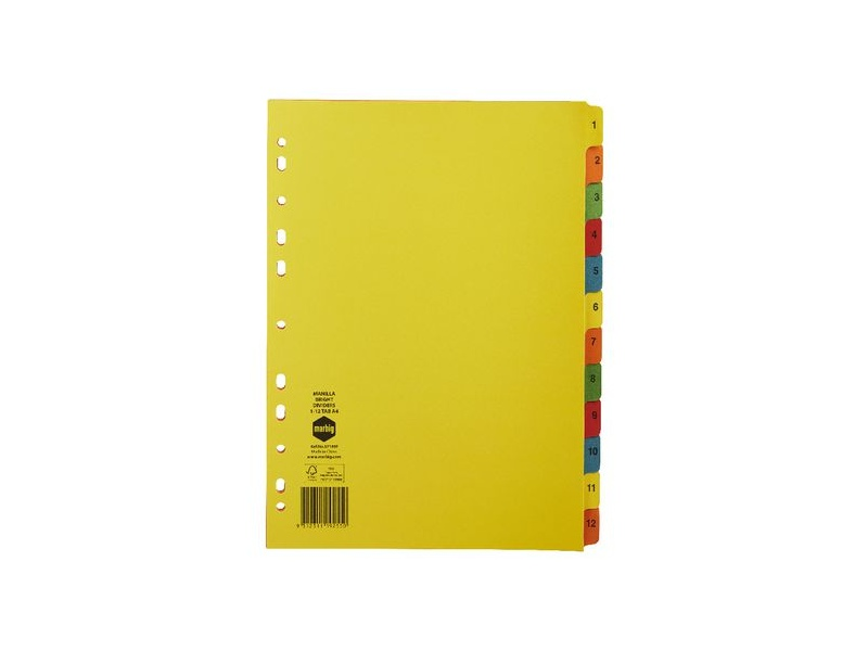 Marbig A4 1-12 Dividers Bright Colours