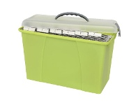 Officeworks Crystalfile Carry Case Foolscap Clear and Lime