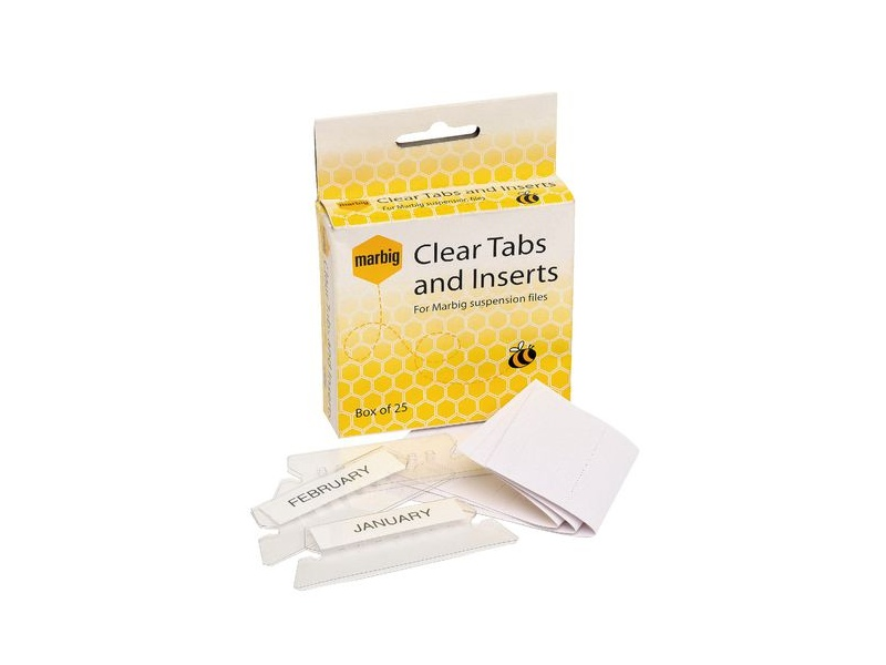 Marbig Clear Tabs and Inserts 25 Pack