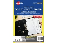 Officeworks Avery Polypropylene A4 Printed Tabs Dividers 1 -20 White