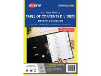 Officeworks Avery Polypropylene A4 Printed Tabs Dividers A - Z White