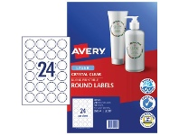 Officeworks Avery Crystal Clear Round Multi-purpose Labels 10 Pack