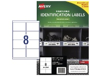 Officeworks Avery 8UP Heavy Duty Removable Labels White 20 Pack