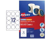 Officeworks Avery 12UP Removable Round Labels White 10 Sheets