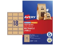 Officeworks Avery 18UP Rectangle Labels Kraft Brown 15 Sheets