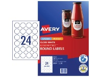 Officeworks Avery Round Gloss Label 40mm White 240 Pack