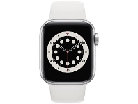 Officeworks Apple Watch Series 6 40mm GPS Cellular Silver White Band