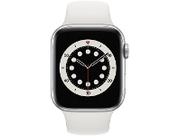 Officeworks Apple Watch Series 6 44mm GPS + Cellular Silver and White
