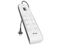 Officeworks Belkin 8 Outlet Powerboard with 2 USB Ports 2.4A