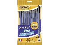 Officeworks BIC Cristal Xtra Smooth Ballpoint Pens Black 10 Pack