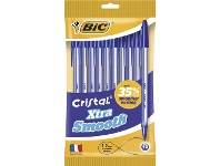 Officeworks BIC Cristal Xtra Smooth Ballpoint Pens Blue 10 Pack